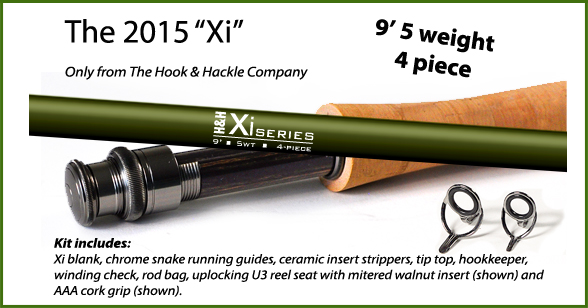"""Xi"" Fly Rod Kit 9 5 weight 4-piece-Hook & Hackle"